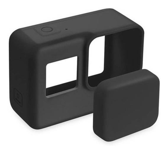 Capa Protetora E Lente De Silicone - Gopro Hero 5/6/7 Black