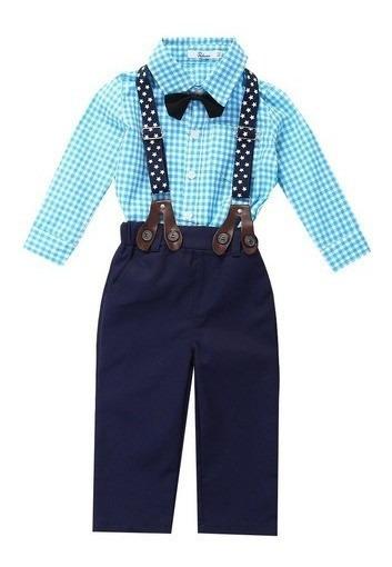 Conjunto Social Masculino Infantil Suspensório Gravata Borbo