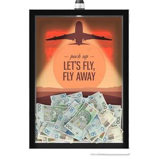 Quadro Led Caixa 30x40 Viagem Fly Away