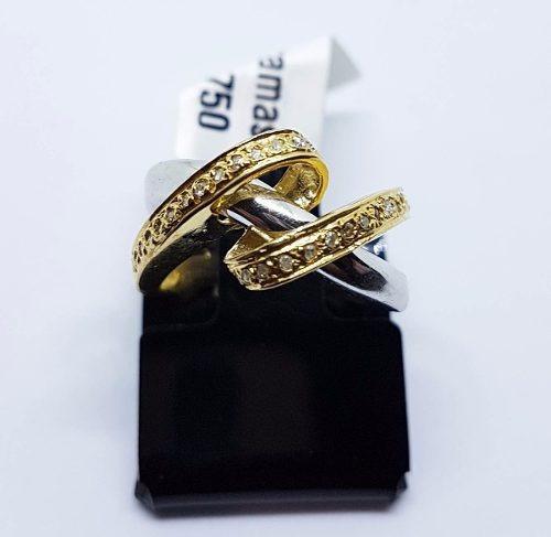 Anel Em Ouro 18k Amarelo Com Branco E Diamantes 5,70g