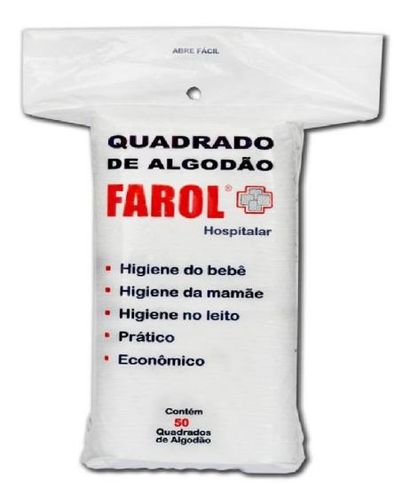 Kit Com 5 Pacotes De Algodão Em Quadrado Hidrofilo Farol