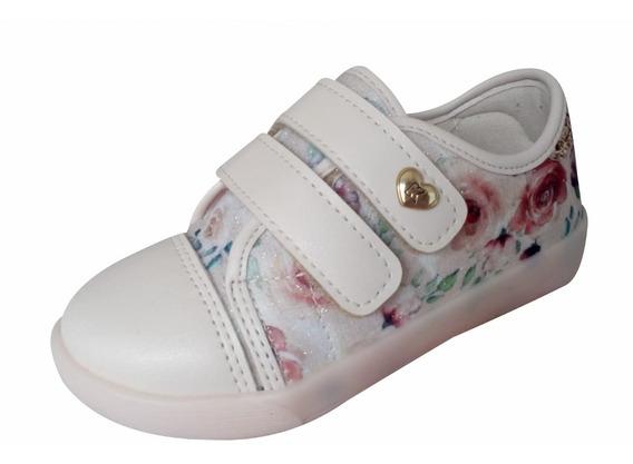 Tênis Infantil Feminino Kidy Marfim Flor Velcro Maravilhoso