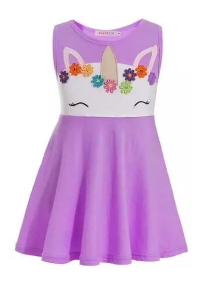 Vestido Unicornio Casual Para Niñas Flores Cuerno