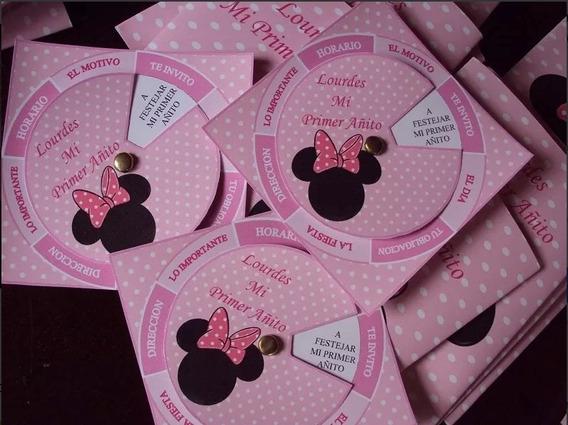 Tarjetas Invitaciones Infantil Personalizadas Minnie X 20