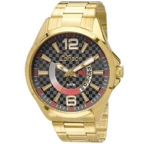 Relógio Condor Masc Aço Dourado Visor Preto Co2115vh/4c