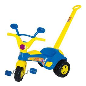 Triciclo Blue Music Empurrador Motoca Carrinho Passeio Azul
