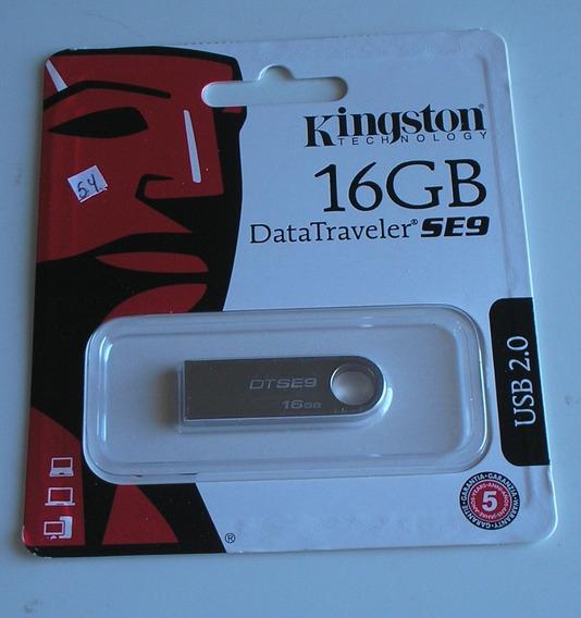 Pen Drive Kingston 16gb Usb 2.0 Prata Original Lacrado Joia