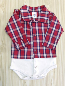 Body Bebe Camisa Xadrez P M G Manga Longa