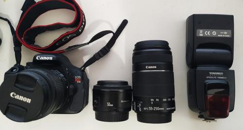 Canon T3i + 50mm 1.8 + 18-55mm + 55-250mm + Flash Yn568ex Ii