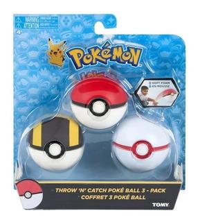 Pokemon Pokebola X 3 De Goma Original Tomy