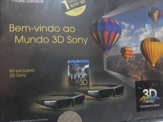 Kit 2 Óculos 3d Sony +transmissor Tmr-br10 + 2dvd Lacrado