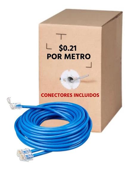 Bobina Cable Utp Cat6 10mts Rj45 Cctv Redes Seguridad-azul