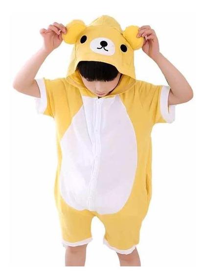 Pijama Verão Macacão Cosplay Kigurumi Fantasia Infantil Urso