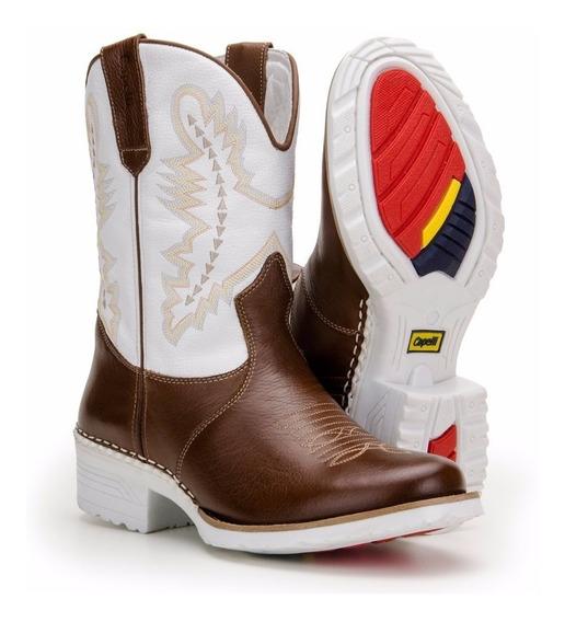 Bota Country Masculina Botina Solado Branco Capelli Boots
