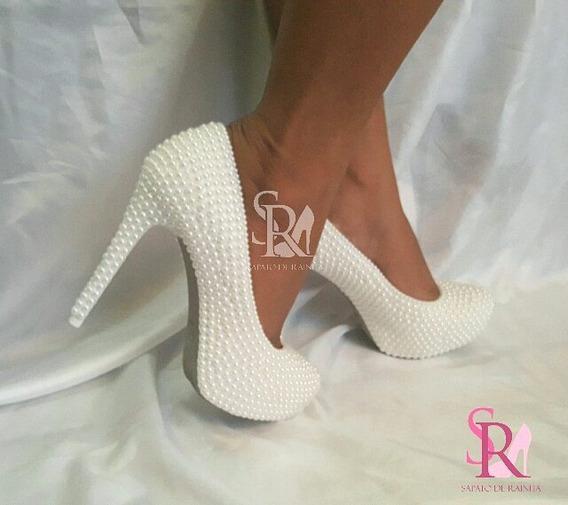 Sapato De Noiva Com Perolas 12 Cm (customizado)
