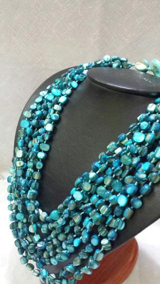 Maxi Colar De Madrepérola Azul