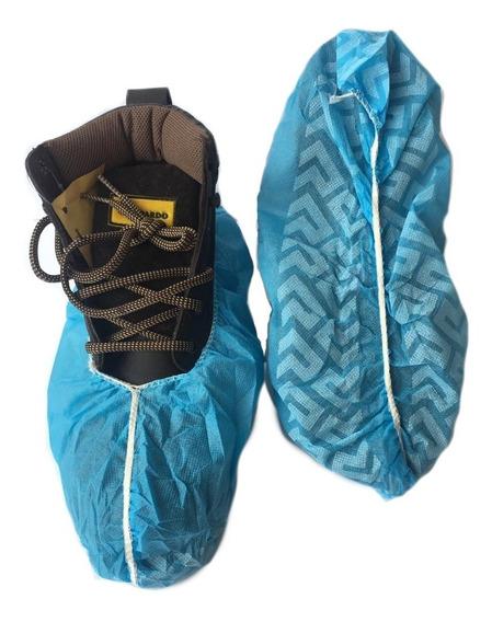 100 Cubre Zapatos Anti Derrapante Azul Higienico Desechable