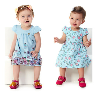 Kit 2 Vestidos Curtos Roupinha De Verão Bebê Menina Abrange