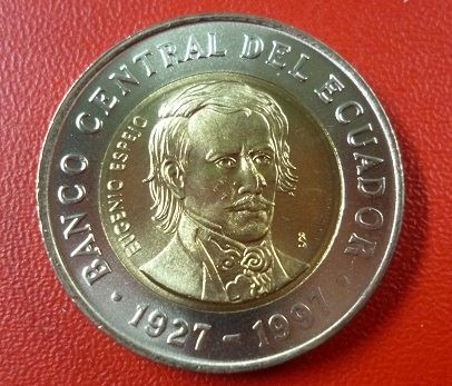 Ecuador Bimetalica 70 Aniv De Banco Central 1000 Sucres 1997