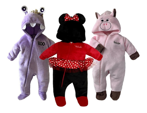 Kit 3 Mamelucos Disney Boo, Minnie, Hamm