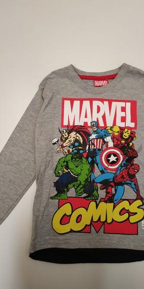 Remera Avengers Comics Manga Larga Infantil Talle 6 Marvel