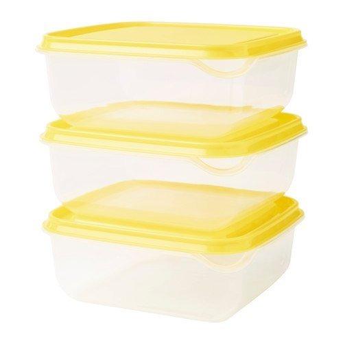 Ikea Pruta Contenedores Almacenamiento 3 Pieza - Amarillo