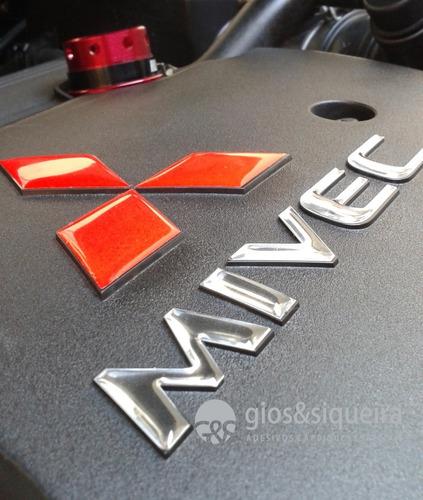 Imagem 1 de 1 de Adesivo Aplique Com Relevo Para Tampa Do Motor Lancer Asx