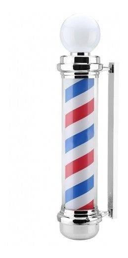 Barber Pole Giratorio Poste Barbearia Aço Inox 220v 60cm