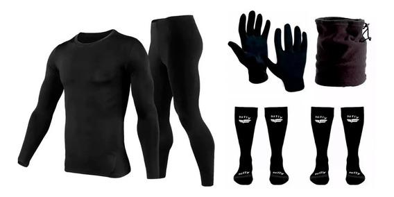 Equipo Termico Moto Remera+calza+cuello + 2 Pares Medias