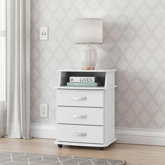 Criado Mudo Luxo Com 3 Gavetas, Branco