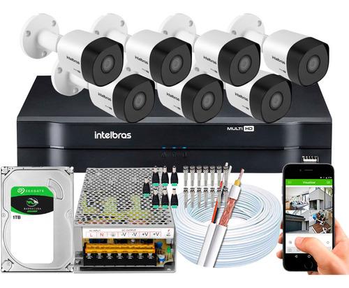 Kit Cftv Intelbras 7 Cameras Vhd 3230b 1080p 2m Dvr 8 Canais
