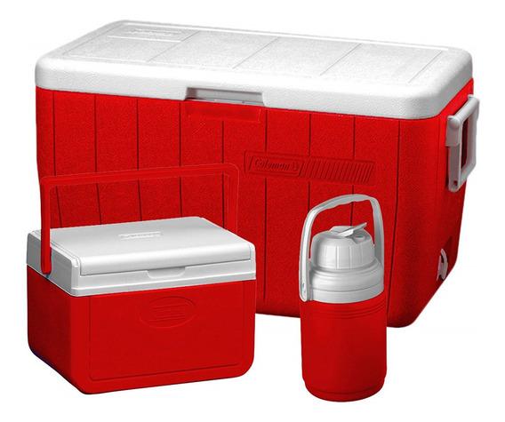 Set De Coolers Coleman Rojo 45lts, 11.35lts Y 1,2lts Camping