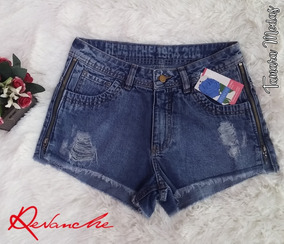 Shorts Jeans Curto Revanche Com Zíper Lateral Sem Lycra 38