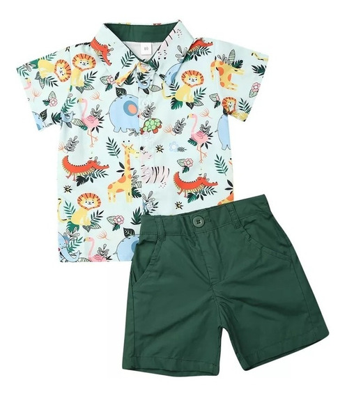 Conjunto Niño Shorts Camisa Animalitos Leon Jirafa Tortuga