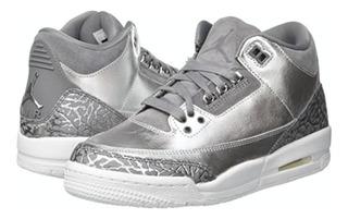 Tenis Air Jordan 3 Retro Premium Heiress Metallic Silver