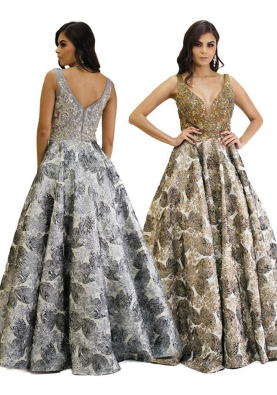 Hermoso Vestido De Noche Color Plata