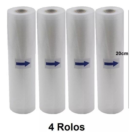 Kit 4 Rolos De Saco Embalagem Seladora A Vácuo Ranhuras 20cm