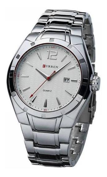 Relógio Masculino Curren Analógico 8103 Prata E Branco