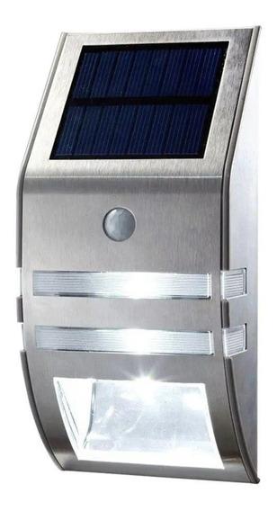 Lampara Luz Calida Led Sensor Foco Solar Exterior Acero Inox