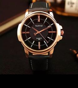Relógio Masculino Original Luxo Esportivo Yazole Couro Promo