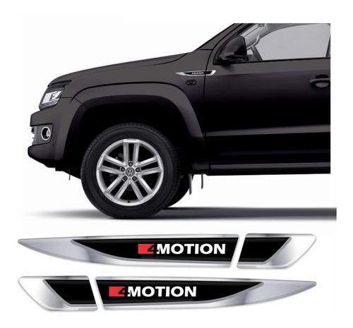 Emblema Adesivo Volkswagen Vw Amarok 4motion Resinado Cromado Aplique Lateral Carro Res27