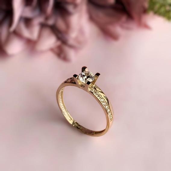 Anillo De Compromiso Diamantes Cultivados Oro Amarillo 14k