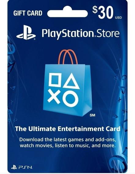 Cartão Psn $ 30 Dólares Usa Ps3 Ps4 Psn Card 100 Americana