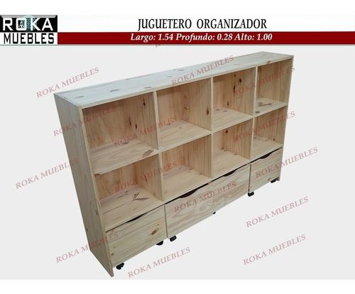 Imagen 1 de 5 de Juguetero Baul Organizador Biblioteca Estante Cubos X 4 Pino
