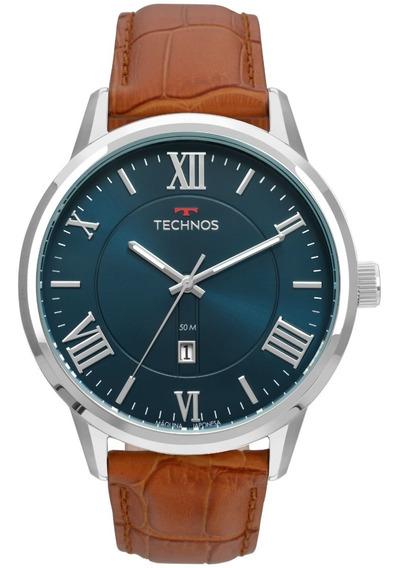 Relógio Technos Prata/marrom,couro,5 Atm,2115mtx/0a
