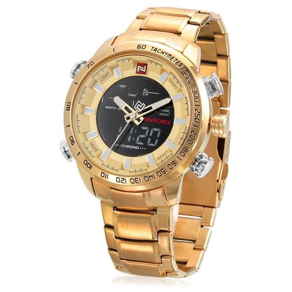 Relógio Masculino Naviforce Original Dourado 9093.