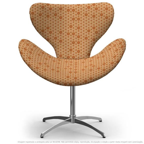 Cadeira Egg Colmeia Laranja E Marrom Com Base Giratória