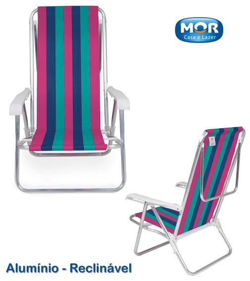 Cadeira Reclinável 8 Posições Alumínio Listrada Praia 2 Mor