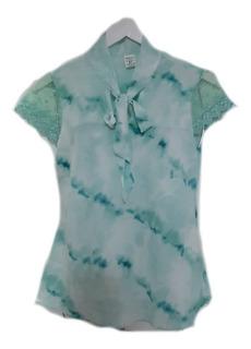 Blusa Camisa Manga Curta Renda Social Moda Evangelica Laço
