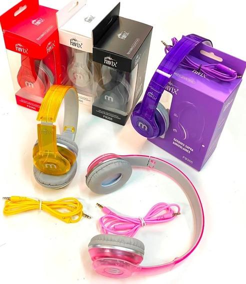 Kit 06 Headfone Com Cabo Removível E Microfone Favix